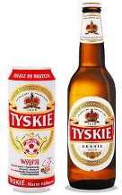 Can and bottle of Tyskie Beer